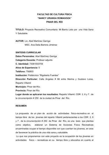 Proyecto Recreativo Comunitario - GDeportes