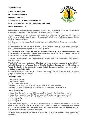 Ausschreibung - Golfclub Kirchheim-Wendlingen