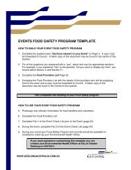Events Food Safety Program Template - City of Greater Geelong
