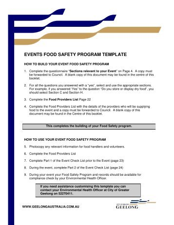 Food safety program template for class 2 retail and food service ...