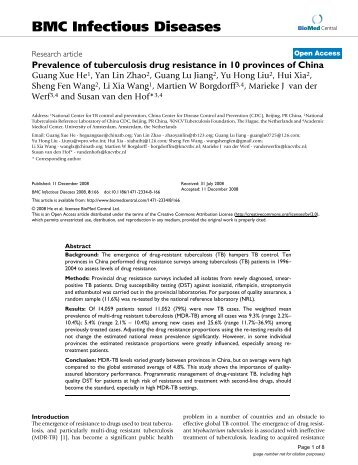 Prevalence of tuberculosis drug resistance in 10 ... - BioMed Central