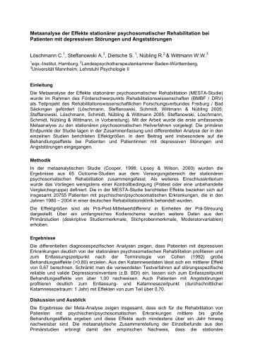 Metaanalyse der Effekte stationärer - GfQG