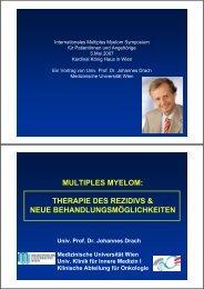 therapie des rezidivs & neue behandlungsmöglichkeiten