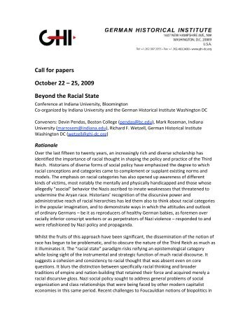 CfP as PDF file - German Historical Institute Washington DC