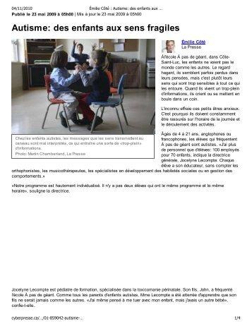 Autisme: des enfants aux sens fragiles - GiantSteps