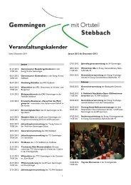Veranstaltungskalender 2012 - Gemeinde Gemmingen