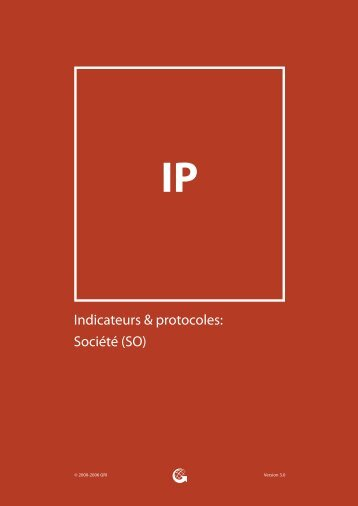 Indicateurs & protocoles: Société (SO) - Global Reporting Initiative