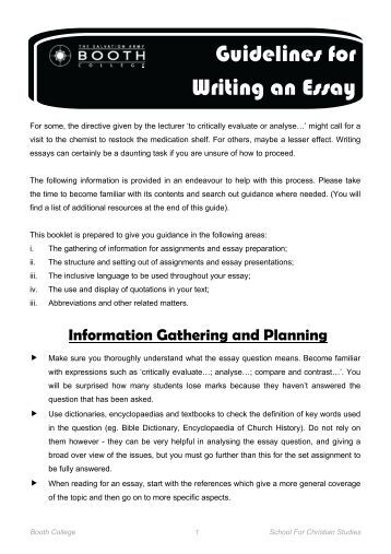 Guidelines in writing an essay