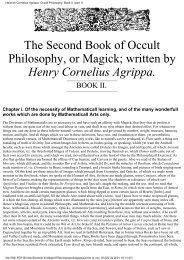 Heinrich Cornelius Agrippa: Occult Philosophy. Book II. (part 1)