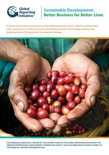 sustainable development: better business for better lives - Global ...