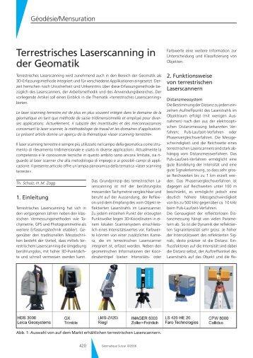 Terrestrisches Laserscanning in der Geomatik - Geomatik Schweiz