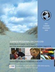 Summer proGramS on Cape Cod - Gestalt International Study Center