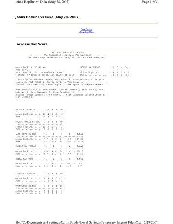 Page 1 of 8 Johns Hopkins vs Duke (May 28, 2007) 5/28/2007 file ...