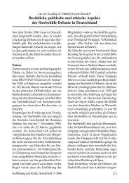 Rechtliche, politische und ethische Aspekte der Sterbehilfe-Debatte ...