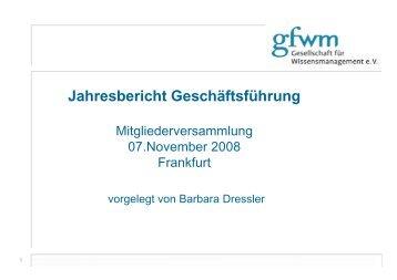 Bericht des Geschäftsführers - GfWM - Gesellschaft für ...