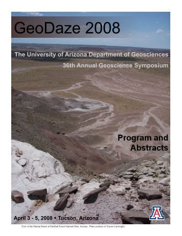 2008 Program - Department of Geosciences - University of Arizona