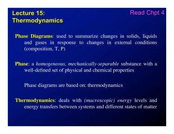 Lecture 15: Thermodynamics Read Chpt 4