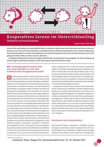 Kooperatives Lernen im Unterrichtsalltag - Die Bildungsmacher