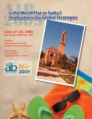 AIB 2009 San Diego Conference Program - Academy of ...