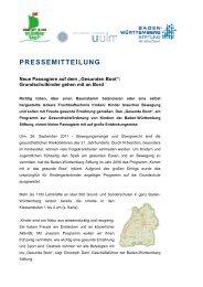 Pressemitteilung September 2011 - Gesunde Kinder - Kommt mit in ...