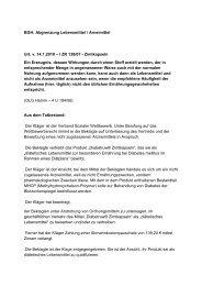 Abgrenzung Lebensmittel / Arneimittel Urt. v. 14.1.2010 – I ZR 138/07