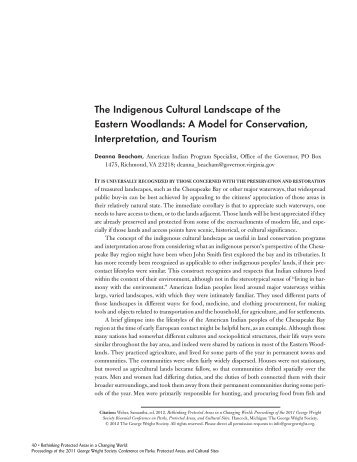 The Indigenous Cultural Landscape of the Eastern Woodlands: A ...