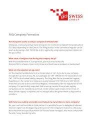 FAQ Company Formation - go swiss Group AG