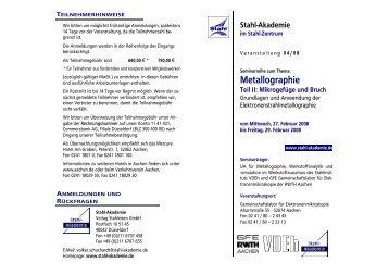 Metallographie Teil II: Mikrogefüge und Bruch - GFE Aachen