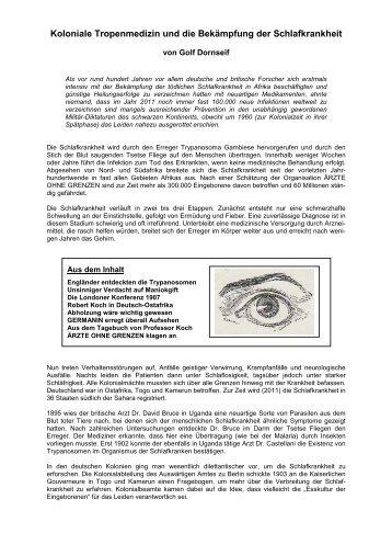 Koloniale Tropenmedizin und die Bekämpfung der ... - Golf Dornseif