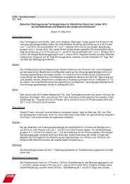 DGB – Bundesvorstand Abt. OEB Stand der Übertragung des ...