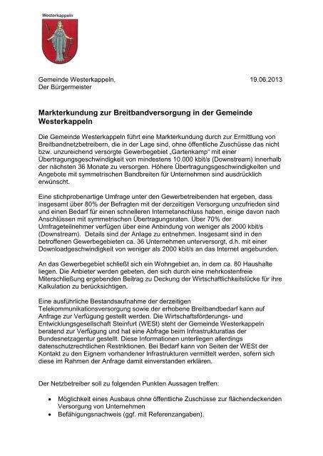 Markterkundung: Gemeinde Westerkappeln - Breitband.NRW