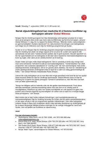 Norsk oljeutviklingsfond kan medvirke til å fremme ... - Global Witness