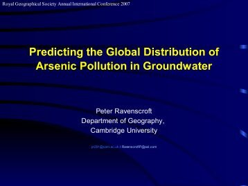 Predicting the global distribution of arsenic pollution in groundwater.
