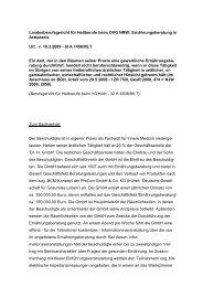 Ernährungsberatung in Arztpraxis Urt. v. 18.2.2009