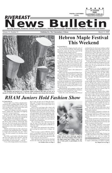 March 13, 2009 - Glastonbury Citizen/Rivereast News Bulletin