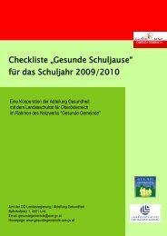 """Checkliste """"Gesunde Schuljause"""" für das Schuljahr 2009/2010"""