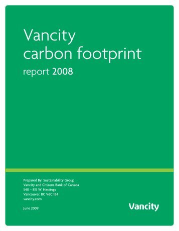 Vancity carbon footprint - CSA's GHG Registries