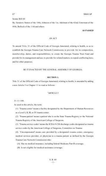 Senate Bill 60 By - Georgia Trauma Care Network Commission