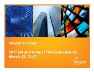 Integra Telecom 2011 Q4 and Annual Financial Results March 22 ...