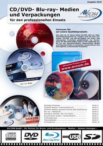 CD/DVD- Blu-ray- Medien und Verpackungen - Avcom