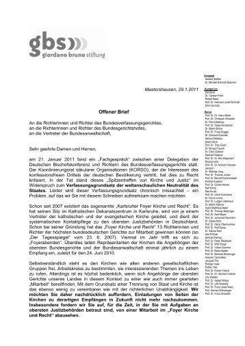 Offener Brief - Giordano Bruno Stiftung