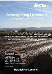 Versteigerung Litzendorf Losverzeichnis 2009 Kiefern-, Fichten