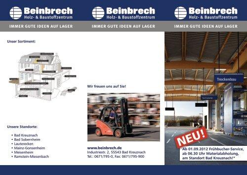 Frühbucher-Service Broschüre - Beinbrech