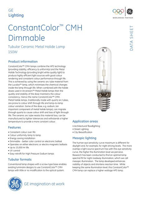 Cmh Dimmable 150w Data Sheet Ge Lighting