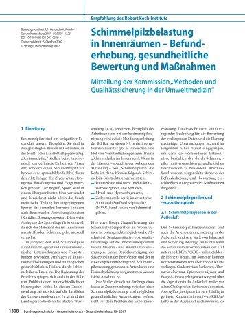 Schimmelpilzbelastung in Innenräumen – Befunderhebung ... - RKI