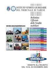 vendite all'incanto dal 19 al 23 dicembre 2005 - Istituto Aste ...