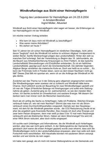 Windkraftanlage aus Sicht einer Heimatpflegerin - Gegenwind ...