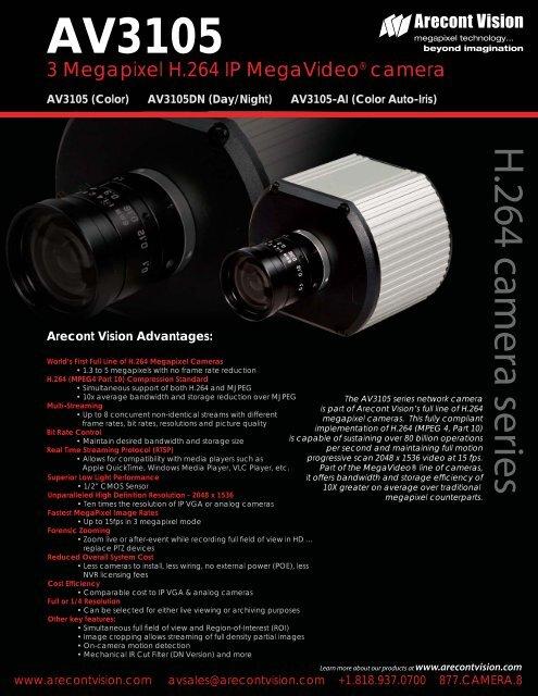 NEW DRIVER: ARECONT VISION AV3105 IP CAMERA