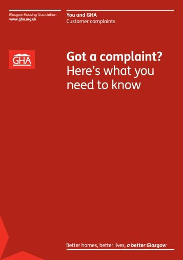 Complaints brochure - Glasgow Housing Association