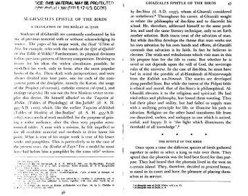 Al-Ghazzali's Epistle of the Birds